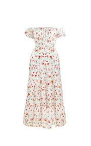 White floral print bardot maxi dress