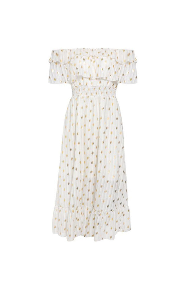 White gold foil spot print bardot midi dress