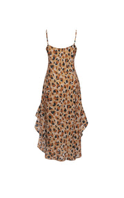 Leopard print chiffon midi dress