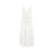 White cotton broderie anglaise midi dress