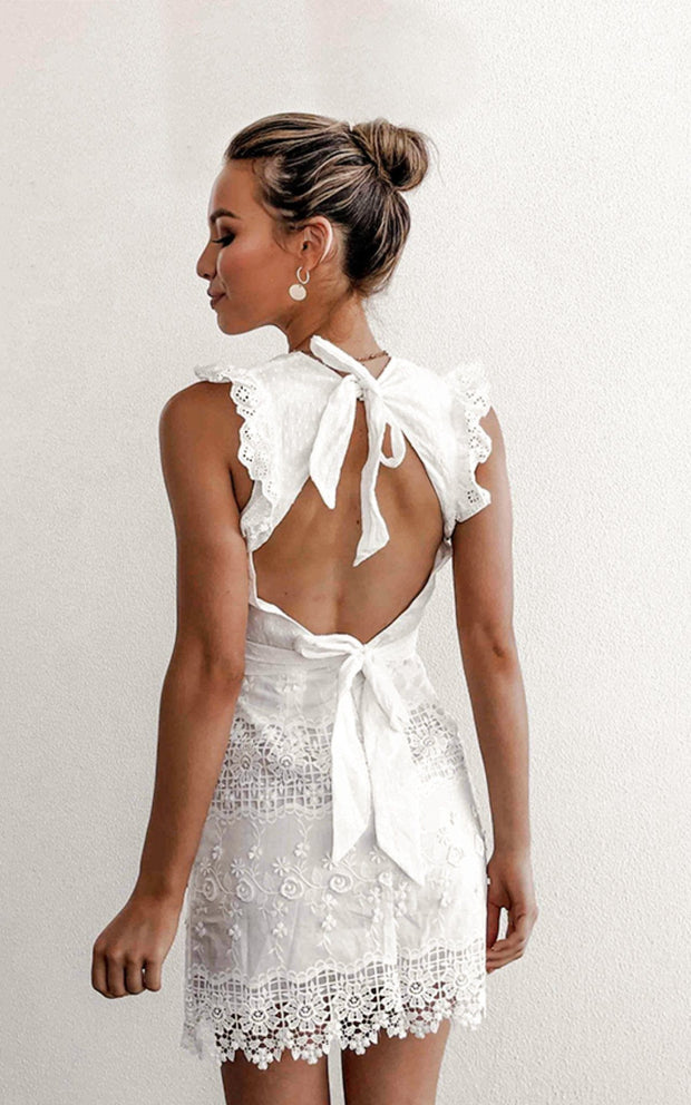 White lace high neck open back dress