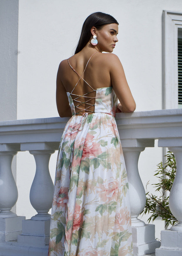 In full bloom lace up back maxi dress
