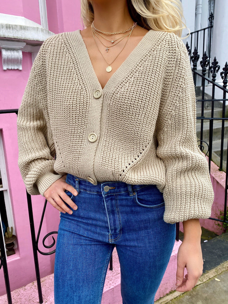 Beige relaxed knitted cardigan