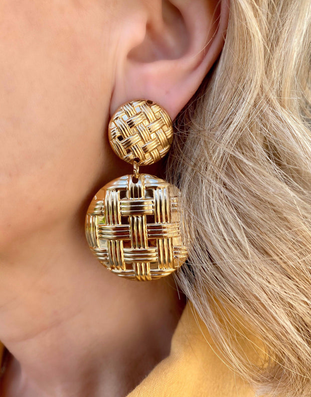 Gold woven drop earrings