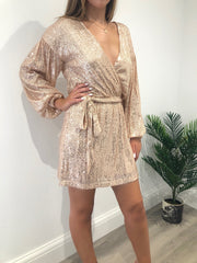 Rose gold sequin wrap over dress
