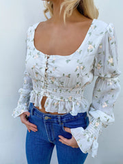 Cream floral print blouse