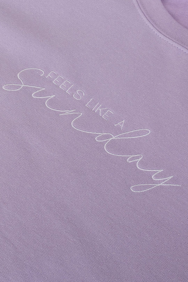 Lilac embroidered sweatshirt