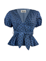 Denim polka dot peplum top