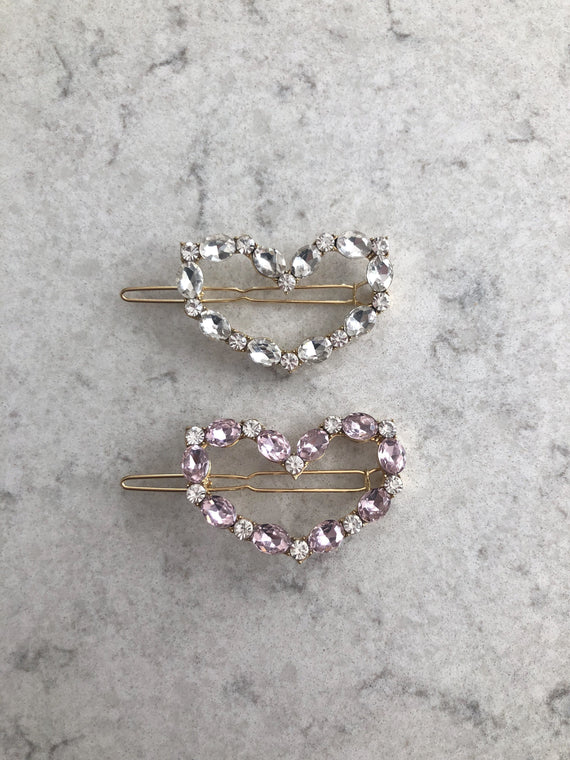 Pink heart hair slide