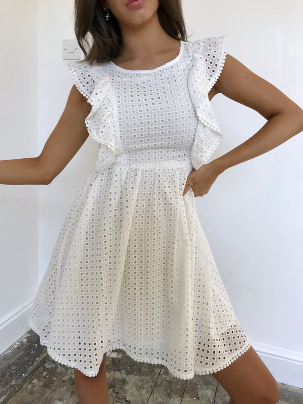 White broderie anglaise pinafore dress