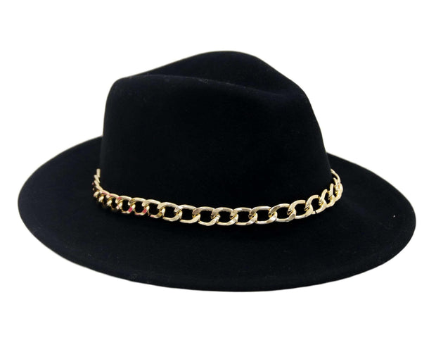 Black chain trim fedora
