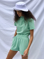 Sage green short set