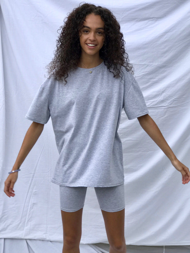 Grey marl cycle short set