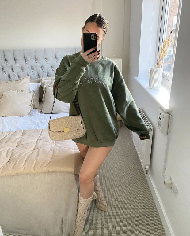 Khaki embroidered sweatshirt