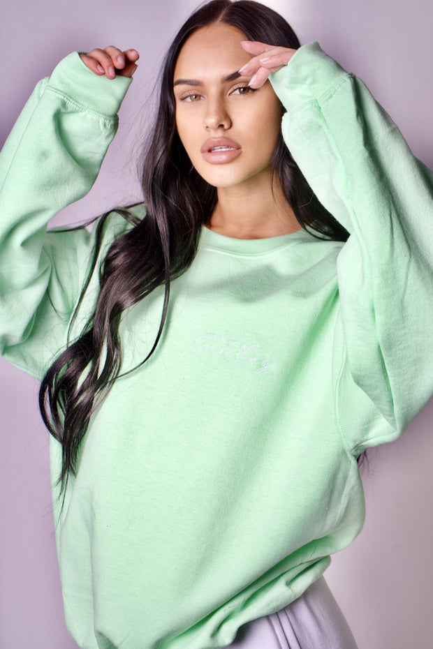 Mint green pocket logo embroidered sweatshirt
