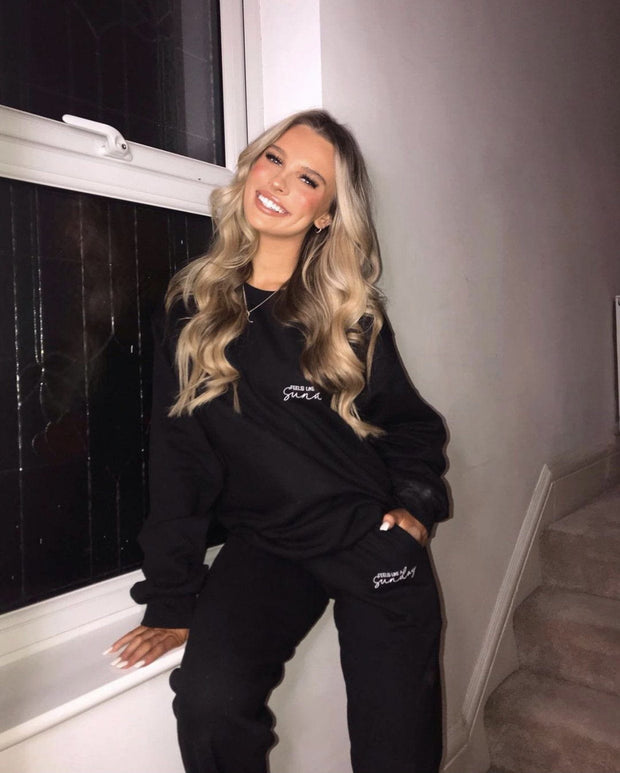 Black embroidered sweatshirt