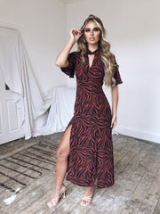 Zebra print twist neck midi dress