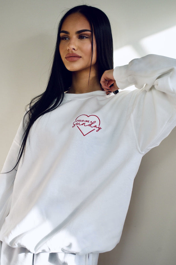 White heart embroidered sweatshirt
