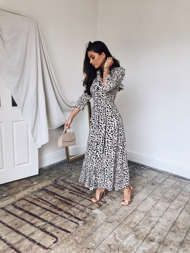 Animal print shirt midi dress