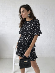 Black spot angel sleeve frill mini dress