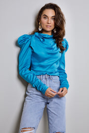 Satin high neck blouse teal