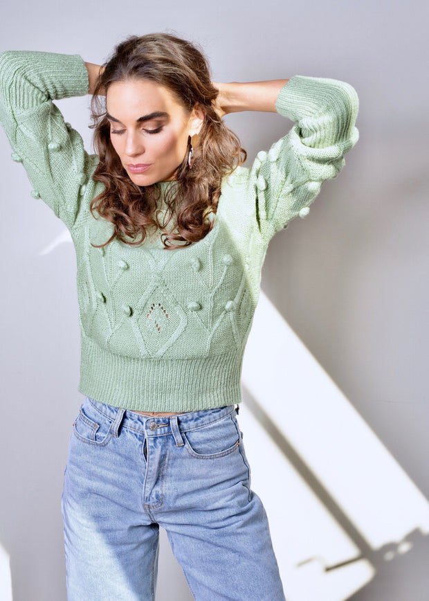 Pom pom knitted jumper green