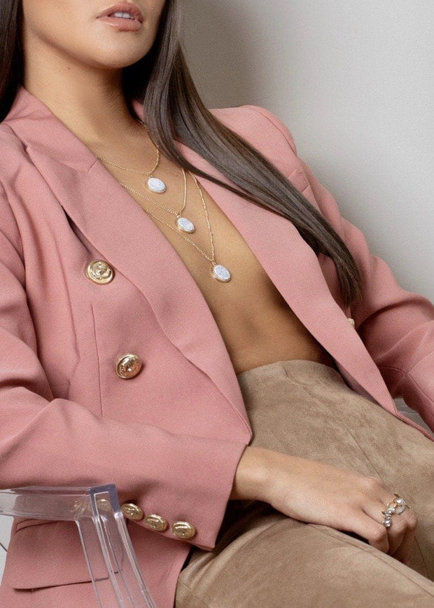 Dusky pink military style fitted blazer