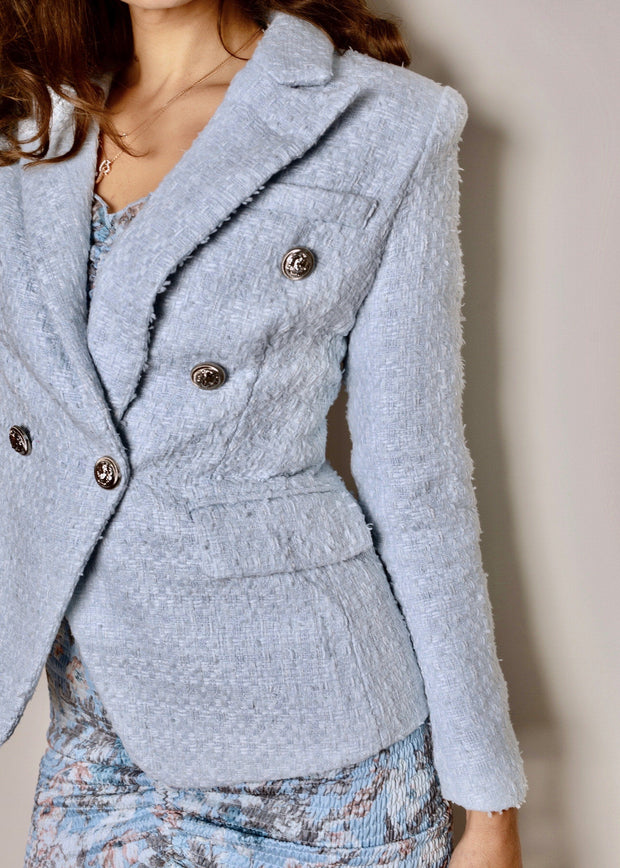 Blue Tweed military style fitted blazer