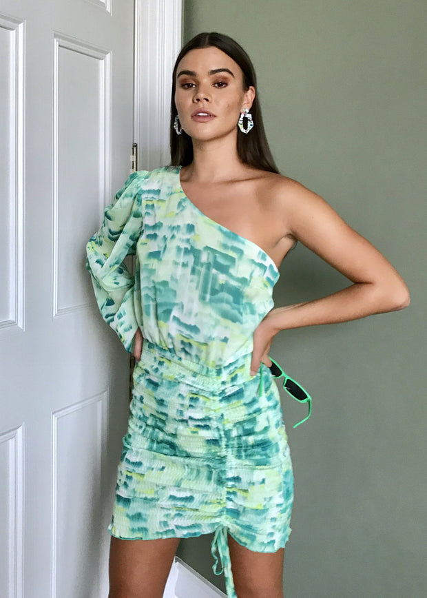 Cocktail hour one shoulder dress green