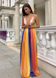 Santorini rainbow maxi dress