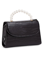 Black croc pearl mini bag