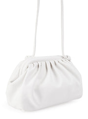 White scrunch pouch bag