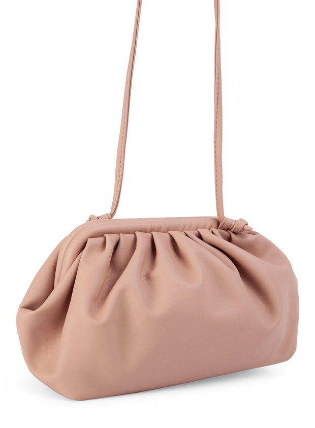 Blush scrunch pouch bag