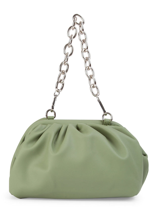 Khaki scrunch pouch bag with chain strap