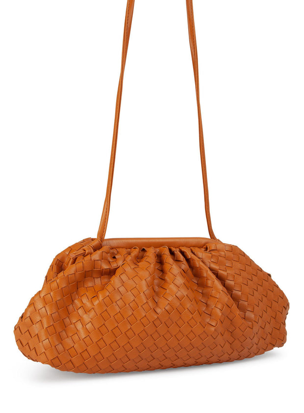 Tan woven scrunch pouch bag