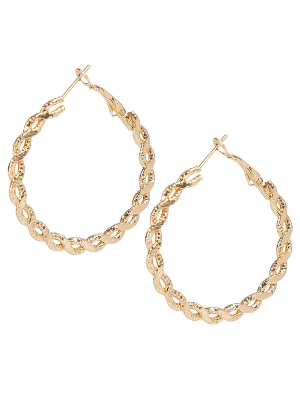 Gold twisted hoop earring