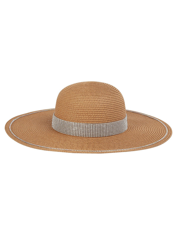 Diamante floppy hat in natural straw