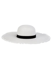Oversized frayed edge straw hat in white