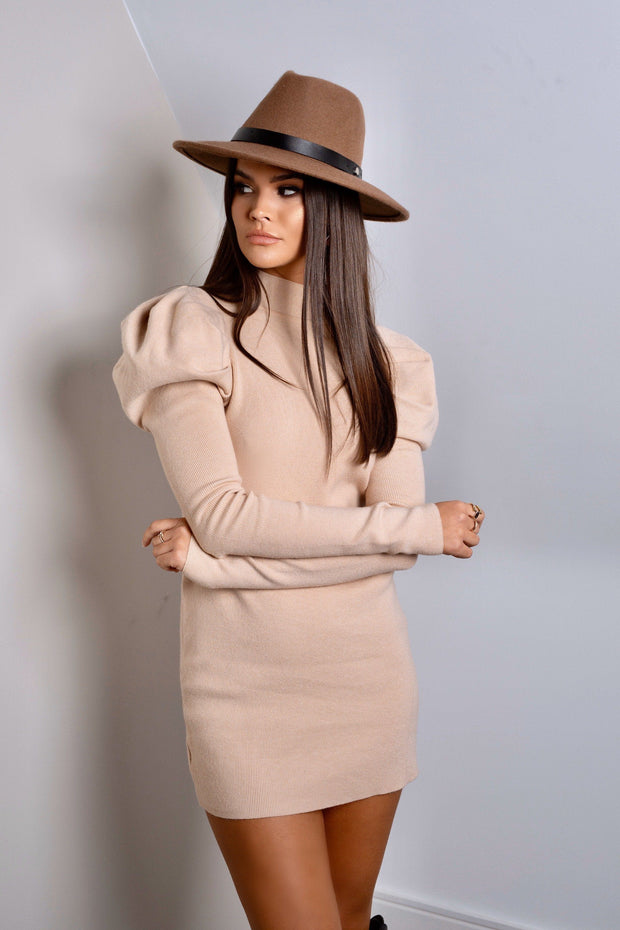 Beige high neck puff sleeve knit dress