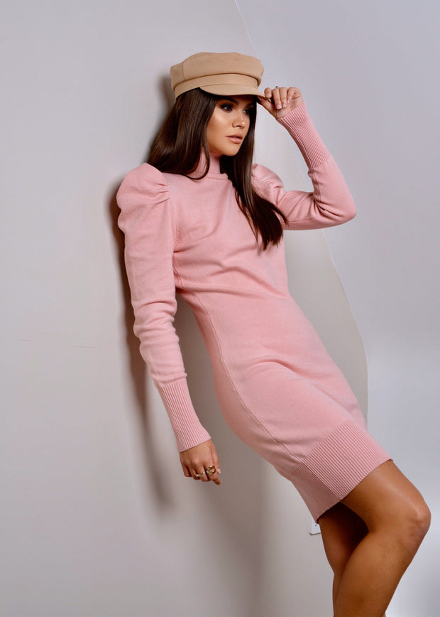 Pink roll neck puff sleeve knitted dress