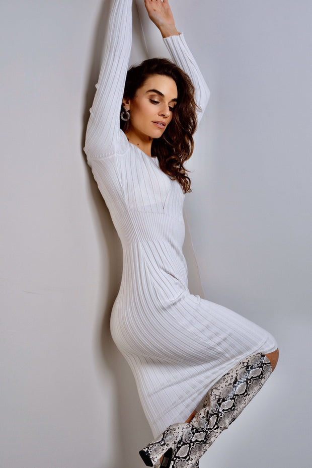 White ribbed knitted midi dress