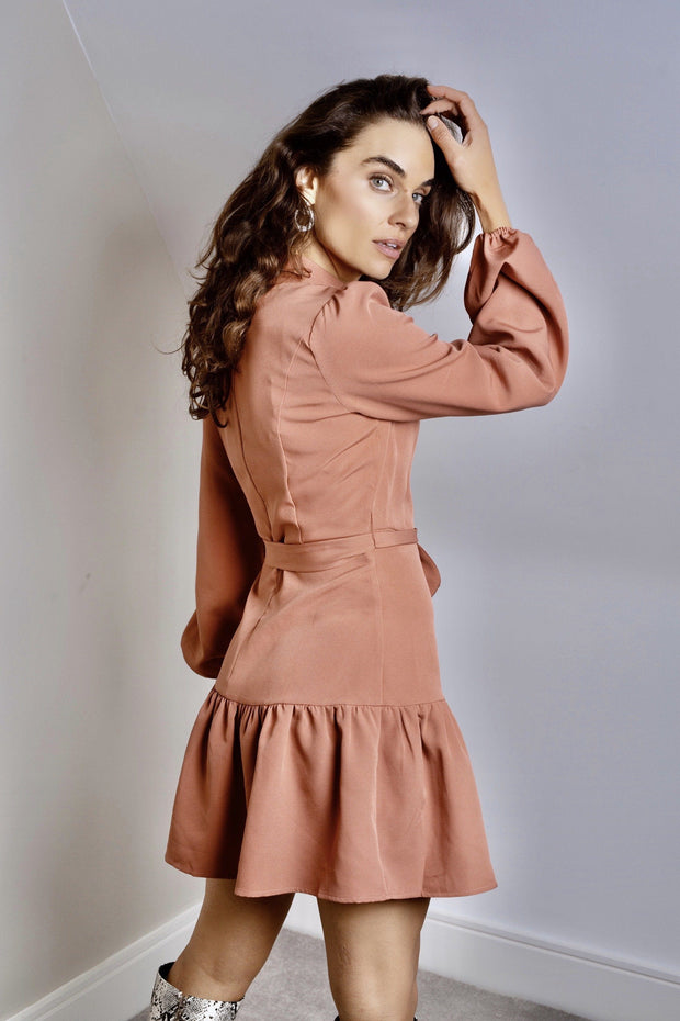 Dusty pink button front mini dress