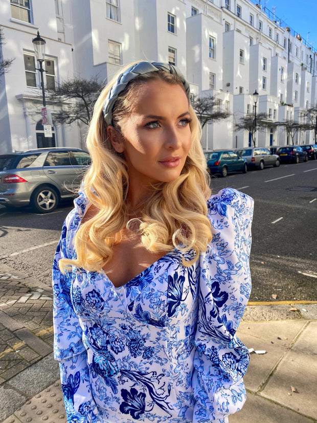 Blue Satin plaited headband