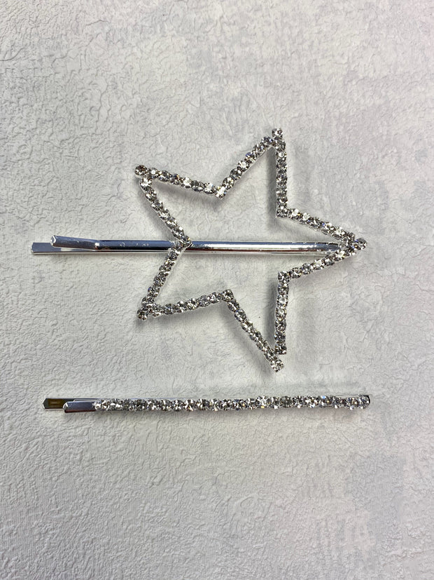 Star diamanté hair slide set