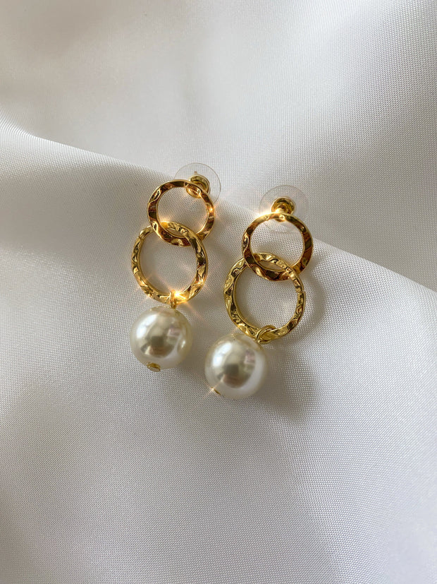 Gold pearl ring earrings