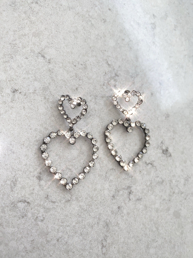 Double heart diamanté earrings