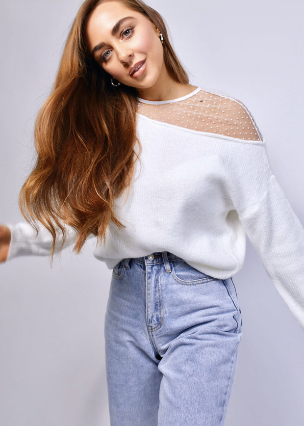 White sheer polka dot neck jumper