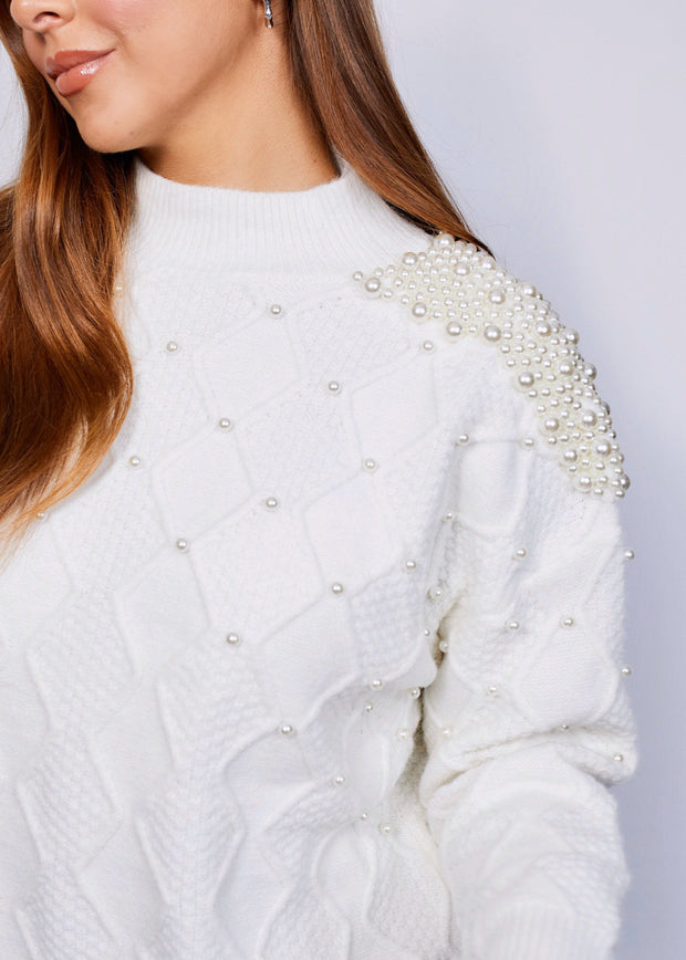 White pearl knit jumper