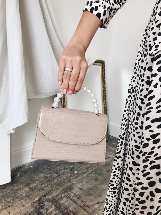 Nude croc pearl mini bag
