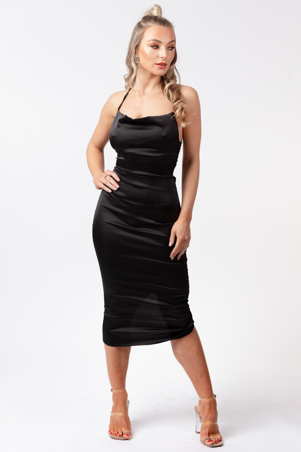 Cowl neck satin midi dress black